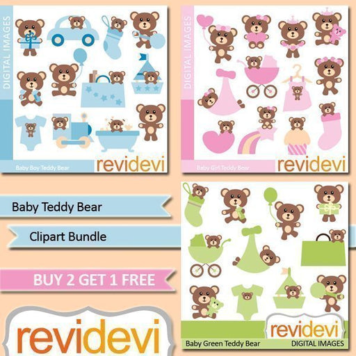 Baby Teddy Bear Clipart Bundle  Revidevi    Mygrafico