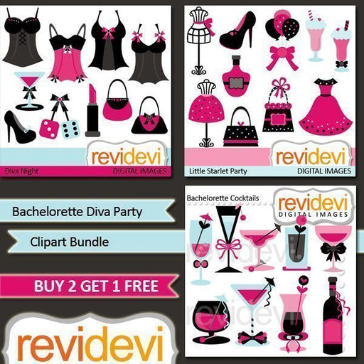 Bachelorette Diva Party Clipart Bundle  Revidevi    Mygrafico