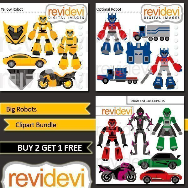 Big Robots Clipart Bundle  Revidevi    Mygrafico