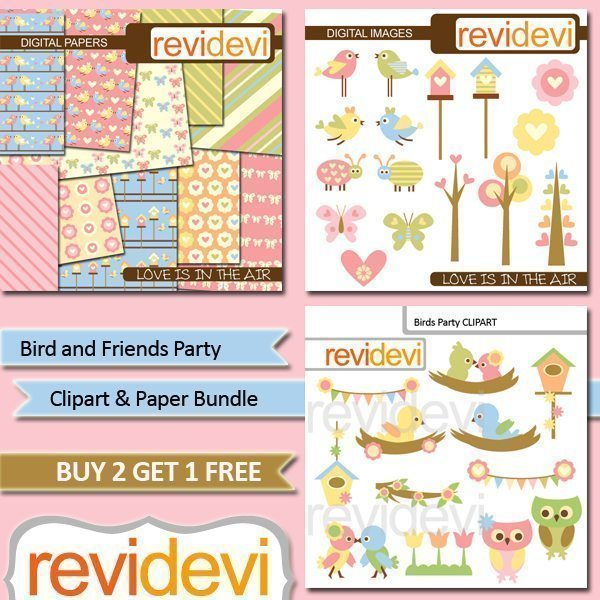 Birds and Friends Clipart Bundle  Revidevi    Mygrafico