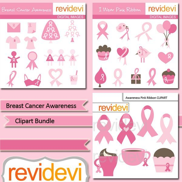 Breast Cancer Awareness clip art bundle  Revidevi    Mygrafico