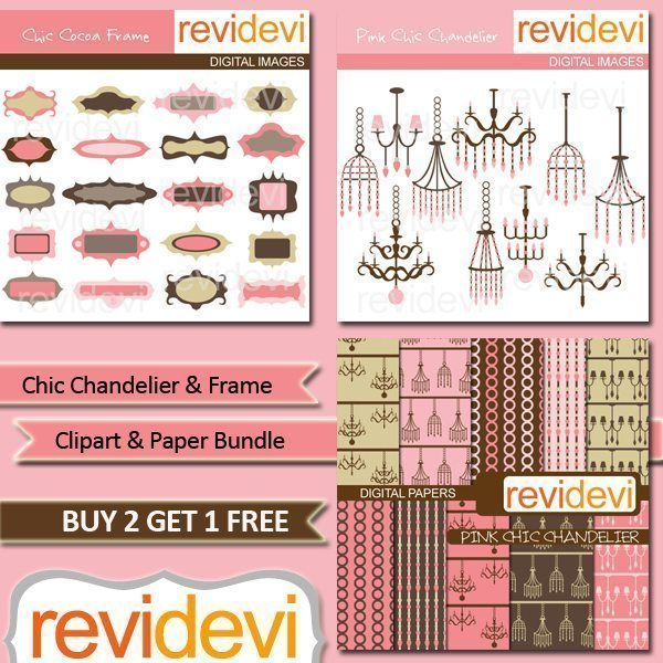 Chic Chandelier Clipart and Paper Bundle  Revidevi    Mygrafico