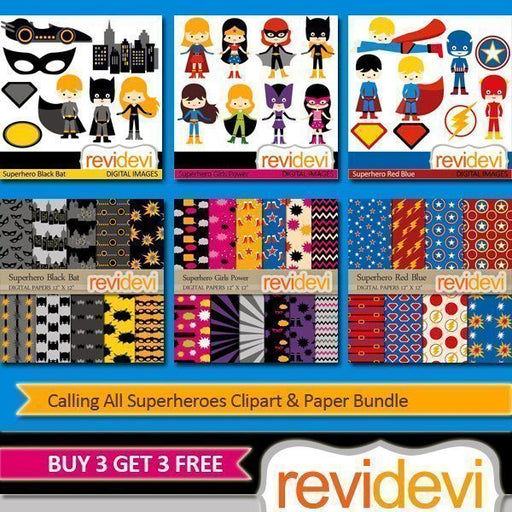 Calling All Superheros Clipart and Paper Bundle  Revidevi    Mygrafico