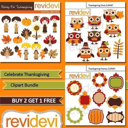 Celebrate Thanksgiving Clipart Bundle  Revidevi    Mygrafico