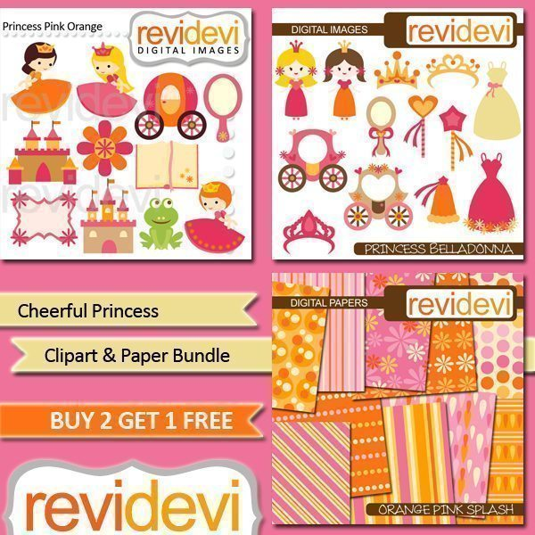 Cheerful Princess Clipart and Paper Bundle  Revidevi    Mygrafico