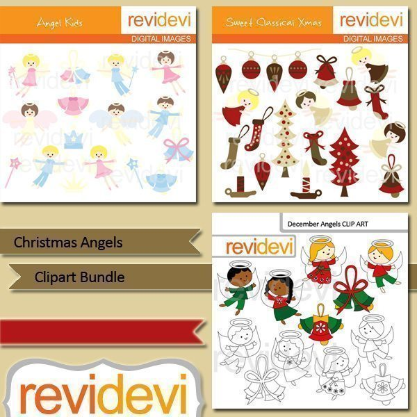 Christmas Angels clip art bundle  Revidevi    Mygrafico