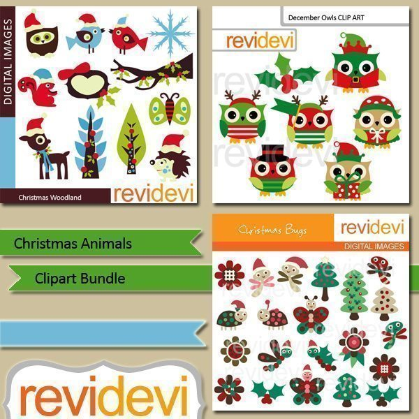Christmas Animals clip art bundle  Revidevi    Mygrafico