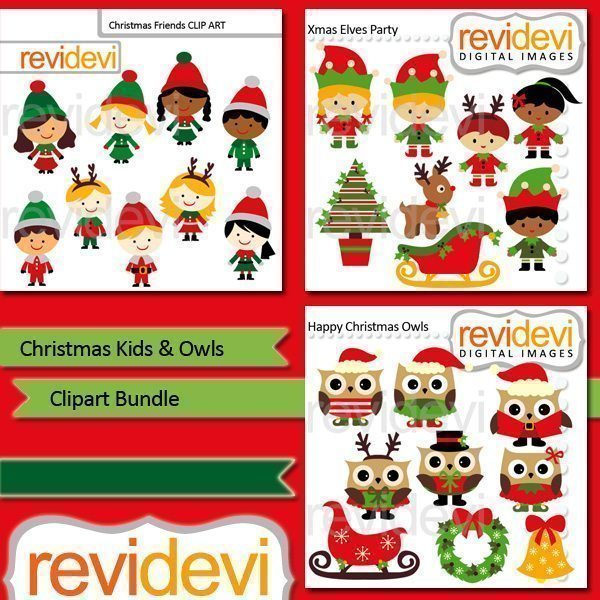 Christmas Kids and Owls clip art Bundle  Revidevi    Mygrafico