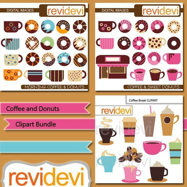 Coffee and Donuts clipart bundle  Revidevi    Mygrafico