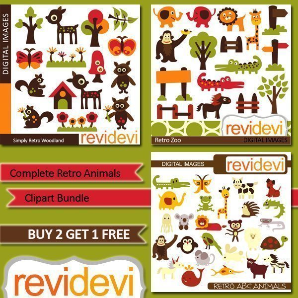 Complete Retro Animals Clipart Bundle  Revidevi    Mygrafico