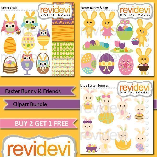 Easter Bunny & Friends Clipart Bundle  Revidevi    Mygrafico