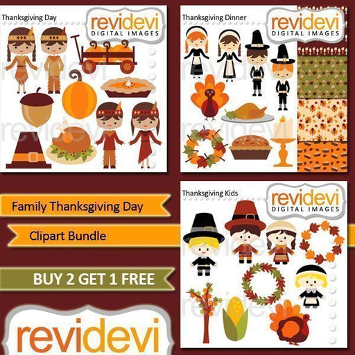 Family Thanksgiving Day Clipart Bundle  Revidevi    Mygrafico