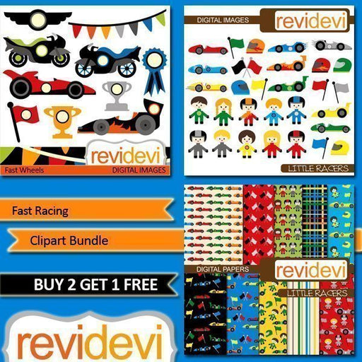 Fast Racing Clipart and Paper Bundle  Revidevi    Mygrafico