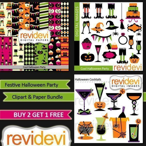 Festive Halloween Party Clipart Bundle  Revidevi    Mygrafico