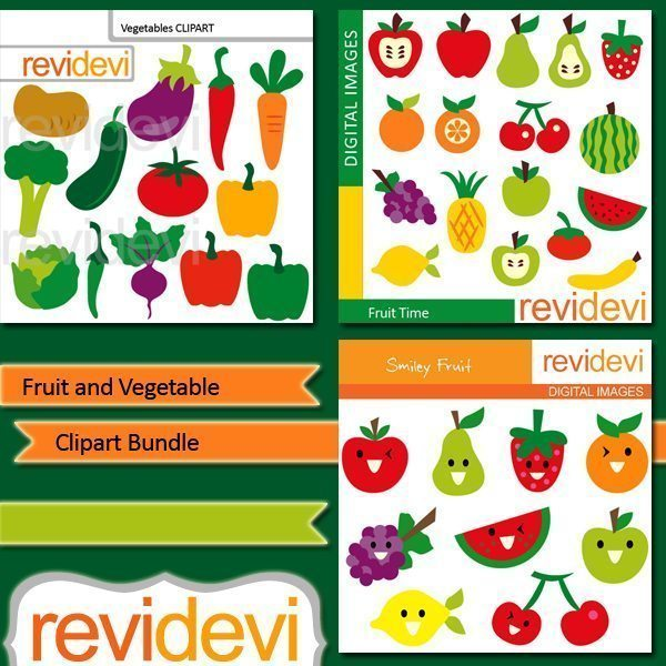 Fruit and Vegetable clipart bundle  Revidevi    Mygrafico