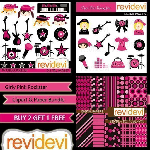 Girly Pink Rockstar Clipart Bundle  Revidevi    Mygrafico