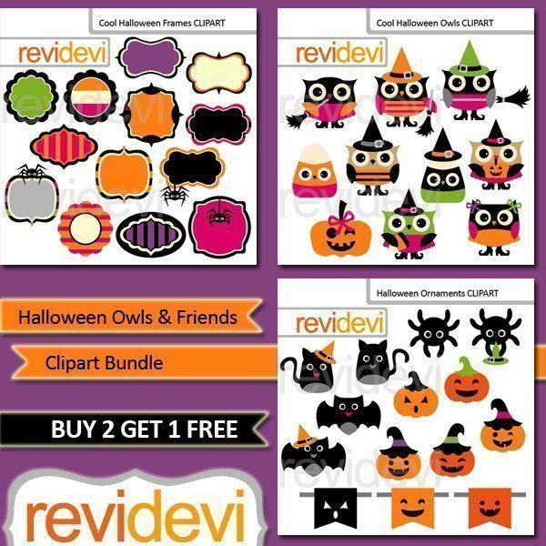 Halloween Owls and Friends Clipart Bundle  Revidevi    Mygrafico