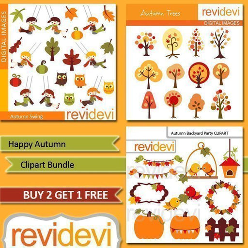 Happy Autumn Clipart Bundle  Revidevi    Mygrafico