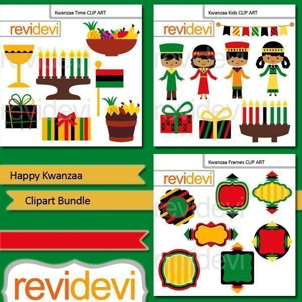 Happy Kwanzaa clip art bundle  Revidevi    Mygrafico