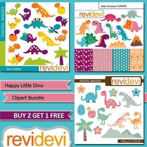 Happy little dino clipart bundle  Revidevi    Mygrafico