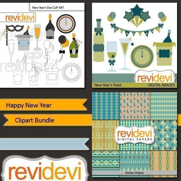 Happy New Year clipart bundle  Revidevi    Mygrafico