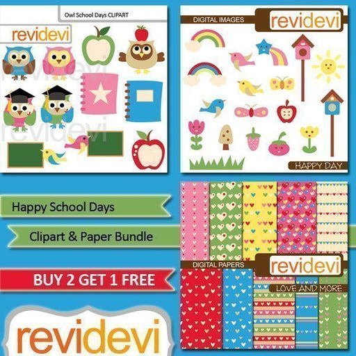 Happy School Days Clipart Bundle  Revidevi    Mygrafico