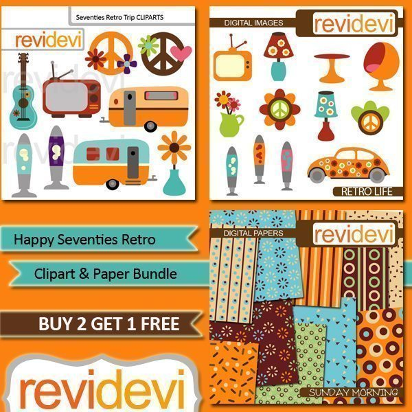 Happy Seventies Retro Clip art Bundle  Revidevi    Mygrafico