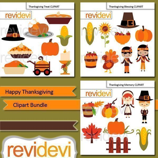 Happy Thanksgiving clip art bundle  Revidevi    Mygrafico
