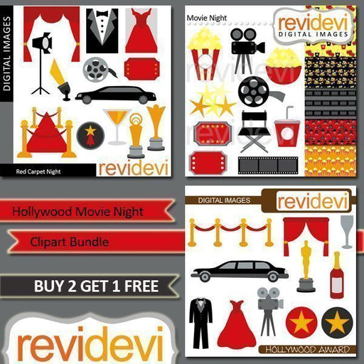 Hollywood Movie Night Clipart Bundle  Revidevi    Mygrafico