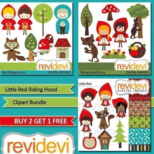 Little Red Riding Hood Clipart Bundle  Revidevi    Mygrafico