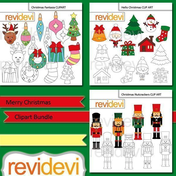 Merry Christmas clip art Bundle  Revidevi    Mygrafico