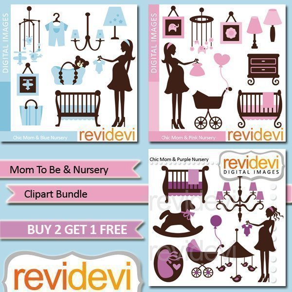 Mom To Be & Nursery Clipart Bundle  Revidevi    Mygrafico