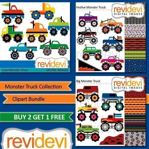 Monster Truck Collection Clipart Bundle  Revidevi    Mygrafico