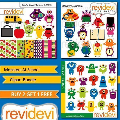 Monsters At School Clipart Bundle  Revidevi    Mygrafico