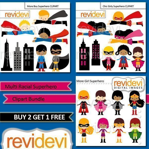 Multi Racial Superhero Clipart Bundle  Revidevi    Mygrafico
