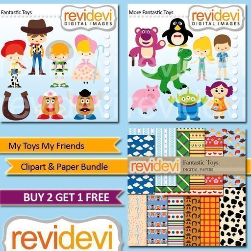 My Toys My Friends Clipart and Paper Bundle  Revidevi    Mygrafico
