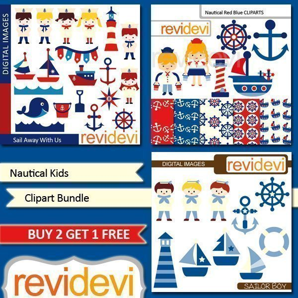 Nautical Kids Clipart Bundle  Revidevi    Mygrafico