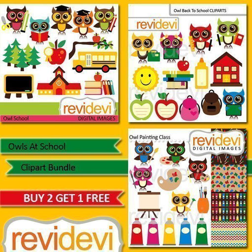 Owls At School Clip art Bundle  Revidevi    Mygrafico