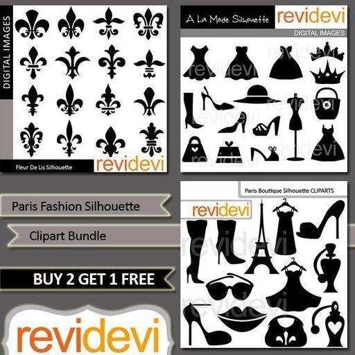 Paris Fashion Silhouette Clipart Bundle  Revidevi    Mygrafico