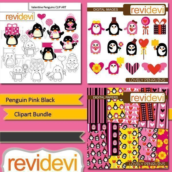 Penguin Pink Black Clipart Bundle  Revidevi    Mygrafico