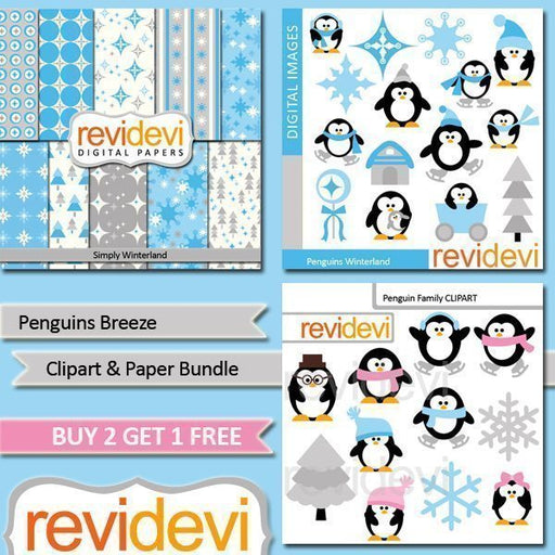 Penguins Breeze Clipart Bundle  Revidevi    Mygrafico