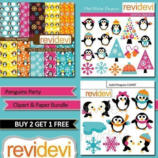 Penguins Party Clipart Bundle  Revidevi    Mygrafico