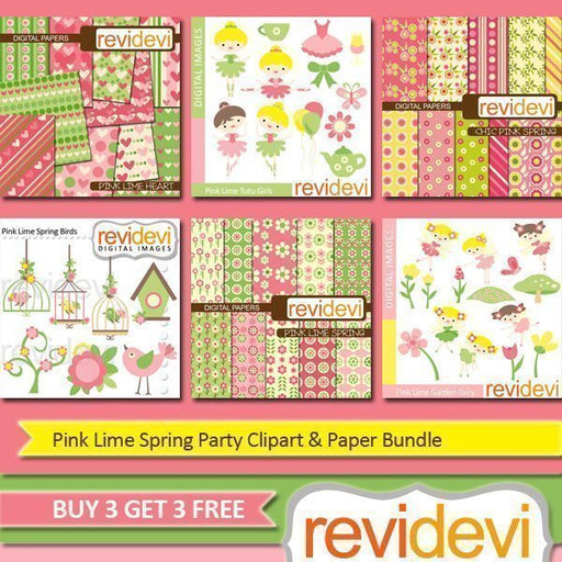 Pink Lime Spring Party Clipart & Paper Bundle  Revidevi    Mygrafico