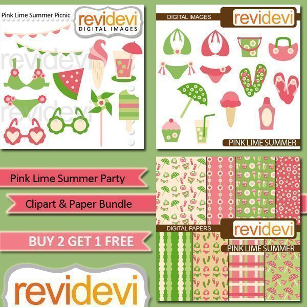 Pink Lime Summer Party Clipart and Paper Bundle  Revidevi    Mygrafico