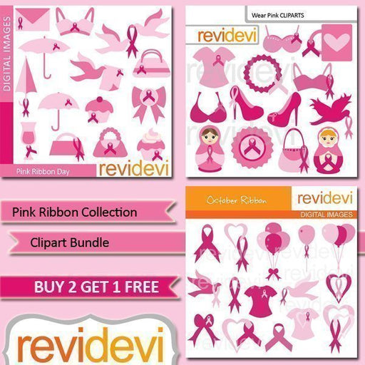 Pink Ribbon Collection Clipart Bundle  Revidevi    Mygrafico
