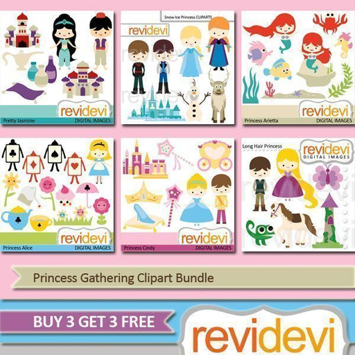 Princess Gathering Clipart Bundle  Revidevi    Mygrafico