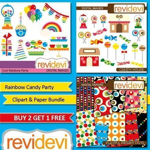 Rainbow Candy Party Clipart Bundle  Revidevi    Mygrafico