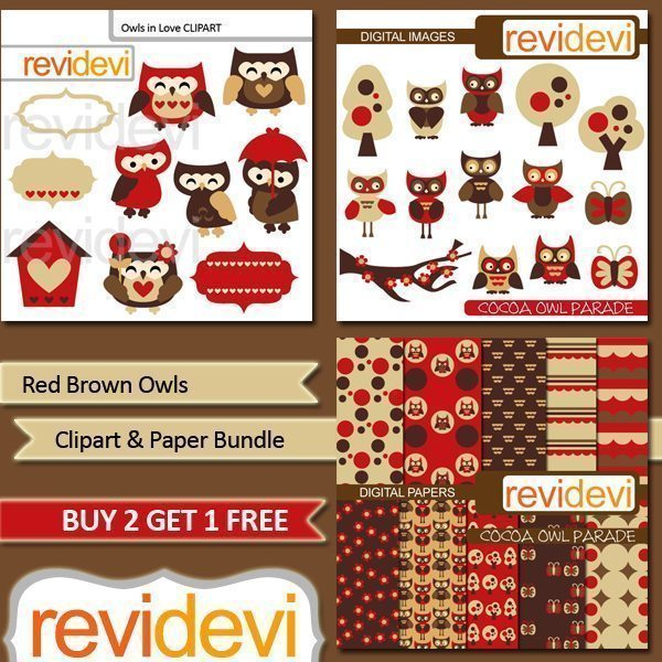 Red Brown Owl Clipart Bundle  Revidevi    Mygrafico