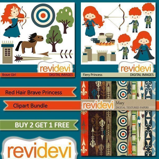 Red Hair Brave Princess Clipart and Paper Bundle  Revidevi    Mygrafico