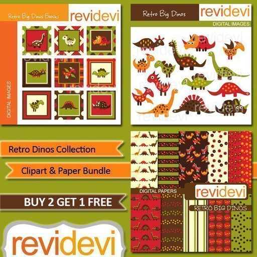 Retro Dinos Collection Clipart Bundle  Revidevi    Mygrafico